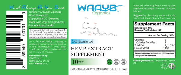 WAAYB Organics Flavorless 300mg Hemp Extract Oil