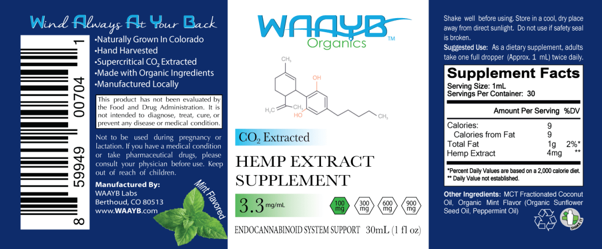 WAAYB Organics 100mg Mint Hemp Extract Oil