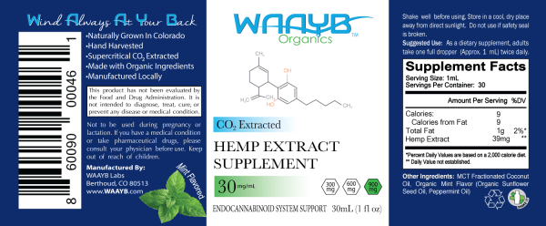 WAAYB Organics 900mg Mint Hemp Extract Oil