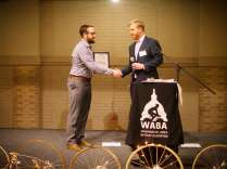WABA Executive director congradulating DDOT Director Leif Dormsjo