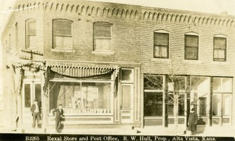 Hull Drug Store and U.S. Post Office Before Tornado - c.1912