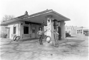 This 1928 photograph shows the White Eagle gas station located at 301 Missouri Street in Alma, Kansas. Seen here are Ronald Faulke (left), operator of the station and Elmer Ringel, station employee. The station was owned by the Degenhardt family for a half-century. Photo courtesy Dr. and Mrs. Larry Ringel.
