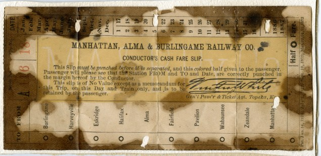 This Manhattan, Alma, & Burlingame Railway ticket is punched August 21, 1885 an shows ten towns as stops on the route.