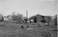 This view of the flour mill located on Mill Creek at Alma was taken after Louis Palenske had installed a steam power plant at the business, circa 1910.