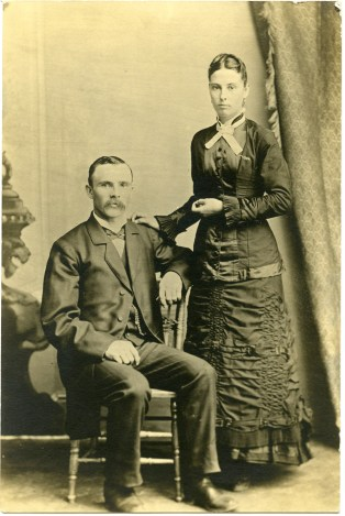 Louis and Emma Thoes Palenske pose for their wedding photograph on January 7, 1883.