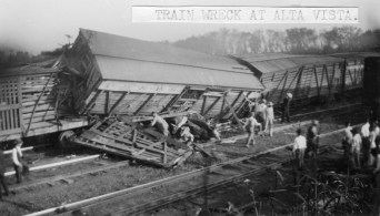 Cattle cars derailed in 1908 at Alta Vista causing considerable loss in property and livestock.