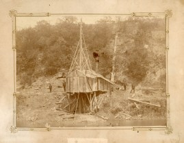 Workers from the Alma Mining Company drilled a number of exploratory holes on the east side of Alma, searching for a significant coal deposit. This view dates from the 1870s.