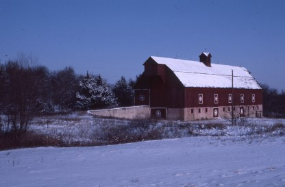 The Henry Sump barn was photographed several times by Charles Herman. Sump had this barn built on his Alma farm in 1913. This winter view dates from the 1970s.