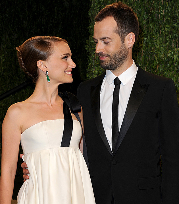 Natalie Portman + husband Benjamin Millepied at the 2013 Vanity Fair Oscar Party