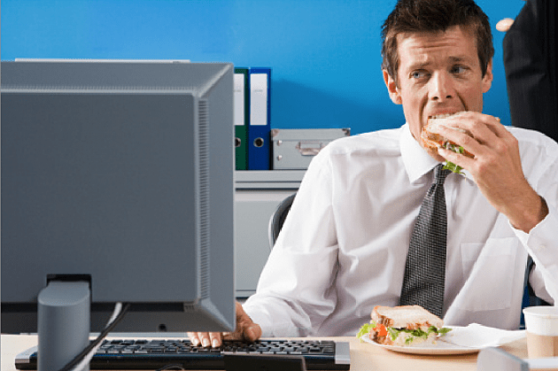 Image result for employee eat on his desk