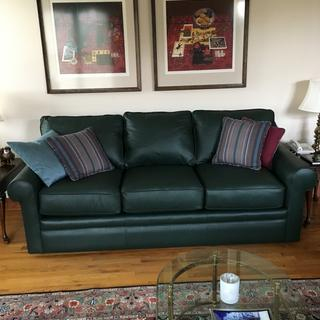 leon s mackenzie sofa arm caps grey collins lovely in green leather