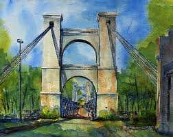 Painting of Waco Suspension Bridge