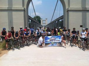 Photo of riders before National Bike Month ride