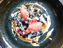 summer berries gratin with strawberry sorbet & mint
