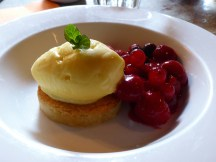 dressed berries with frangipane & lemon curd ice cream