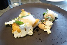Pan-fried brill with cauliflower, bone marrow & stout