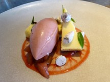 Poached rhubarb with buttermilk tart, rhubarb sorbet, wood sorrel & meringue