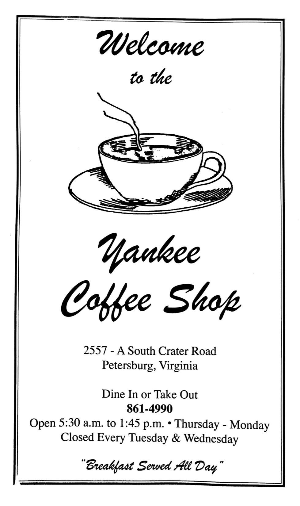 Yankee Coffee Shop's menu, page 1.