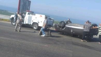 """صورة بالصور: اوتستراد """"النبي ساري"""" مجددا.. جريحة بانقلاب سيارة!"""