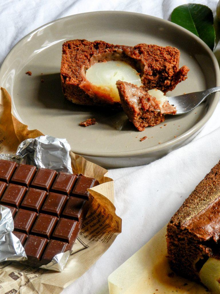 Gâteau au yaourt, huile d'olive, chocolat et poires - Wadji, Cooking Mama