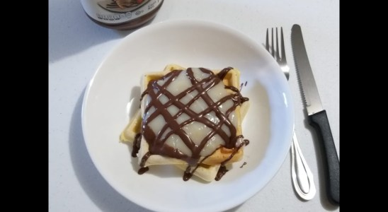 Homemade Waffles with Vanilla Pudding!