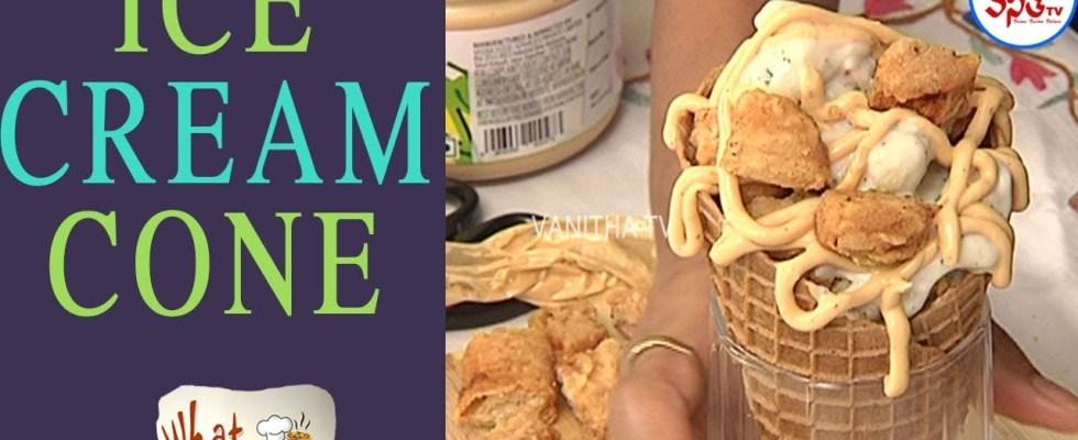 Delicious Waffle Cone Cheese Chicken Nagad Recipe   What A Taste   VanithaTV
