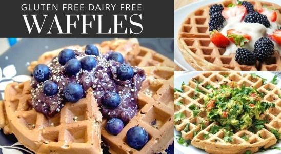 Gluten Free Waffles (Dairy Free) Recipe | Healthy Belgian Waffles - 3 Ways