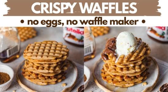 CRISP WAFFLES- NO EGGS, NO WAFFLE MAKER, NO OVEN | lock down eggless waffles without waffle iron