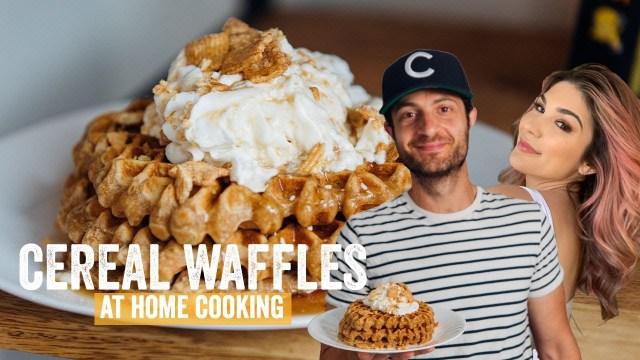 Cooking w/ Cathy Kelley! Cinnamon Toast Crunch Cereal Waffles | Brunch Boys