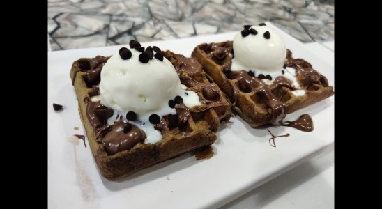 Chocolate Waffles | Quick easy waffles in waffle stand & Griller