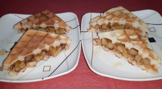 Easy Homemade Belgian Waffle Recipe | Peanut butter and Chocomilk with Caramelized Plantain