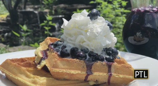 Rania's Recipes: Sour Cream Waffles With Blueberry Syrup