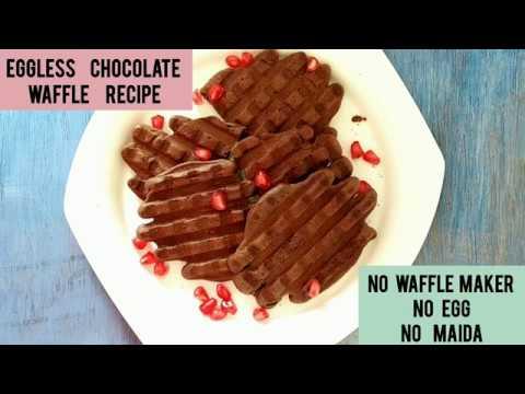 Eggless Chocolate wheat flour Waffle recipe | No Maida  ( all purpose flour) | No waffle maker