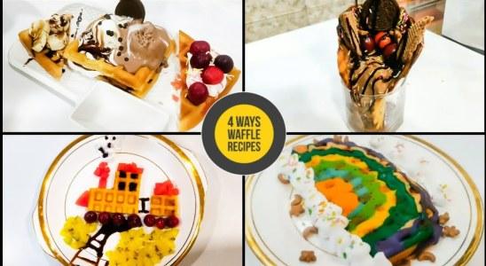 4 Ways Waffle Recipes | Waffle Platter, Waffle Express,Choco Overload Waffle, Navya Kitchen