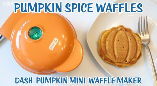 Dash Pumpkin Mini Waffle Maker Review and Pumpkin Spice Waffle Recipe