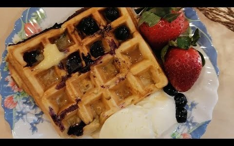 Easy homemade Blueberry Waffles || in Tamil