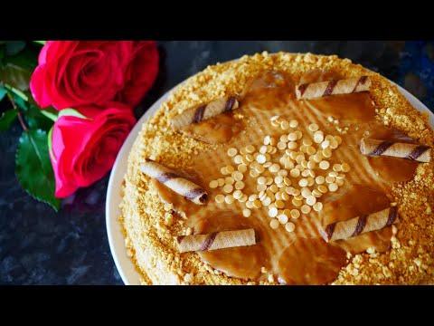 How to make Caramel Waffle Cake - Korovka | Caramel Cake Recipe