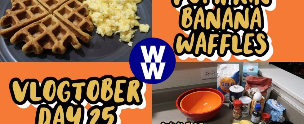 VLOGTOBER DAY 25    COOK WITH ME: PUMPKIN BANANA WAFFLES    5 SMART POINTS    MYWW BLUE PLAN   