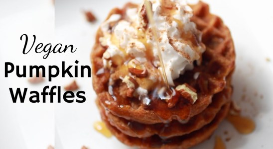 Vegan Pumpkin Waffles | Easy Fall Breakfast Recipe
