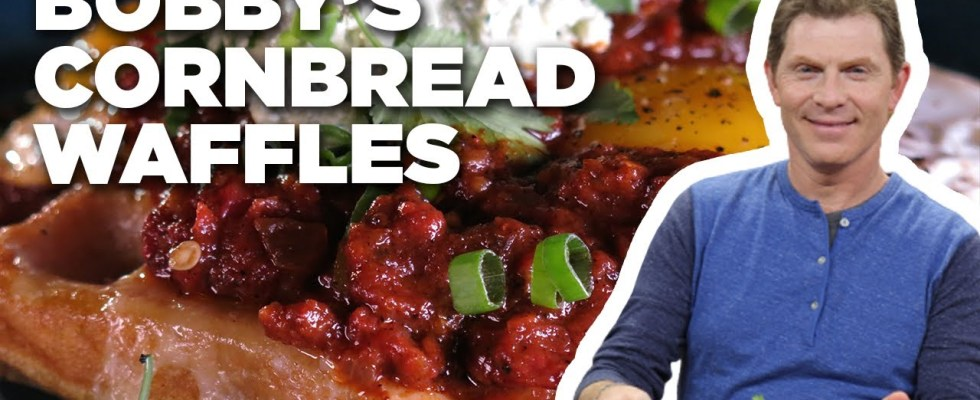 Bobby Flay's Cornbread Waffles with Ranch-Style Eggs | Brunch @ Bobby's | Food Network