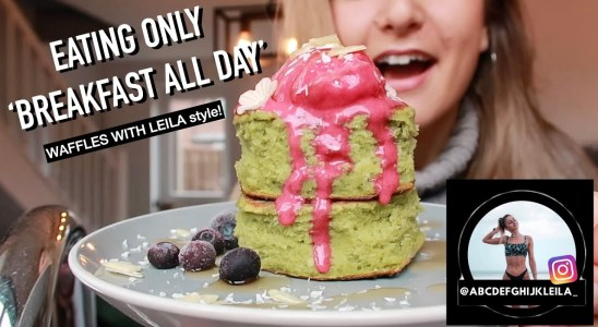 EATING ONLY BREAKFAST ALL DAY | Waffles With Leila Recipes!