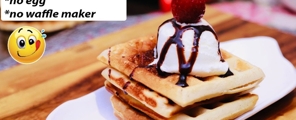 Eggless Waffle Recipe Without Waffle Maker, And Oven l Easy Homemade Waffles l Cook With Asha