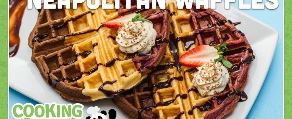 Neapolitan Waffles [Colorful Recipes] | Cooking Panda #shorts