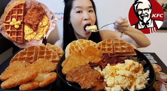 KFC Breakfast Waffles Feast! Original Recipe Crispy Chicken Patties, Bacon & Eggs - Mukbang w/ Asmr