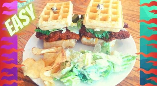 Buffalo Chicken Waffle Sandwich Meal Easy | Sweet Baby Ray's Buffalo Sauce | Spicy Chicken Sandwich