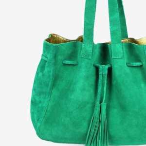 Grand sac daim vert intérieur doré Apolline Wagapé