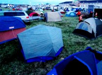 Tent city in Council Bluffs, RAGBRAI 2013, Copyright Robert Hartwig.