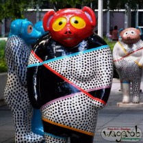 Jun Kaneko's Tanukis displayed at Millennium Park's Boeing Galleries.