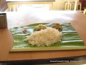 meal served on banana leaf in a kanyakumari hotel