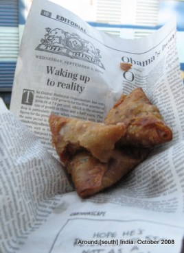 samosa of a different kind...served on a page of Hindu in a train to kanyakumari from trivendram